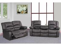 493 3 and 2 seater leather recliner sofa