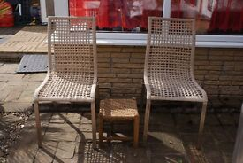 TWO MATCHING GARDEN CHAIRS, STAINLESS STEEL FRAME, WOVEN SEATS AND BACK, WITH FOOTSTOOL CAN DELIVER