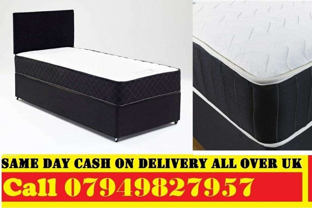 SINGLE Divan BedSEMI ORTHO MATTRESS IN BLACK DOUBLE KINGSIZE Bedin Wandsworth, LondonGumtree - SINGLE DIVAN BED. Bed Only GBP..........GBP 39 Bed. With 7 inch Budget Mattress ............ GBP 65 Bed. With 9 inch Deep Quilt Mattress ......... GBP 69 Bed. With 10 inch White Orthopaedic Mattress . GBP 79 Bed. With 11.5 inch Super Orthopaedic...