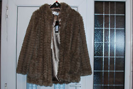NEW LOOK FAUX FUR COAT SIZE 14 BRAND NEW WITH TAGS