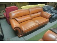 Three Seater Tan Leather Sofa With Armchair