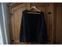 BLACK TOPSHOP SIZE 12 GLITZY GOING OUT CARDIGAN/COVER UP