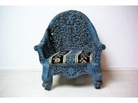Beautiful hand carved blue colour antique Afghan chair
