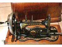 Antique Singer Sewing Machine model 12 Fiddle base Hand Crank.