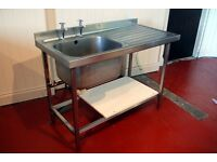 Single Bowl Commercial Stainless Steel Sink with Right Hand Drainer