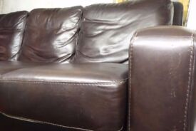 Brown Leather 3 Seater Sofa Large High Quality Level