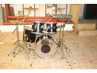 Hohner Percussion Black Drum Kit & Mapex Snare, plus Mapex Piccolo Snare, Sabian and Paiste Cymbals