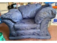 2 x Large blue armchairs