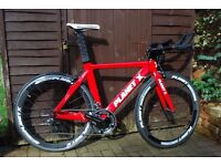 Planet X Stealth Pro Carbon SRAM Medium Timetrial / Triathlon Bike - Red