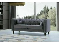 ⚡⚡⚡SPECIAL OFFER HIGH QUALITY⚡⚡⚡ FULLY PLUSH VELVET FLORENCE SOFA 3 & 2 SEATER IN GREY COLOR