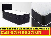 SINGLE Divan Bed & SEMI ORTHO Matrs IN BLACK DOUBLE KINGSIZE Bed