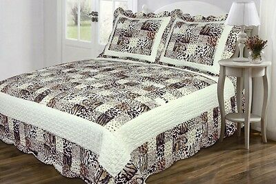 3pc Zebra Leopard Animal Print Coverlet Bedspread Soft Mi...