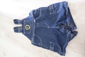 Baby Boys Cardiff Bluebirds Dungaree shorts age 9-12 months