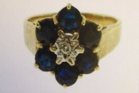 Diamond & Sapphire Ladies Ring Hallmarked 9ct Yellow Gold Cluster / Flower Style Design, RRP £800