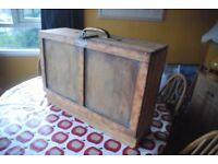 Nice pine 2-drawer toolbox with unusual handle