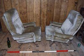 Howard Kieth HK armchairs mid century modern modernist swivel decorative vintage Brighton gplanera