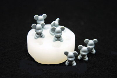 7 Mini Bears, Silicone Mold Candle Chocolate Polymer Clay Soap Wax