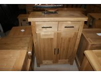Derwent Oak 2 door, 2 drawer cabinet with 2 shelves. 84cm wide. (Carlton Furniture)