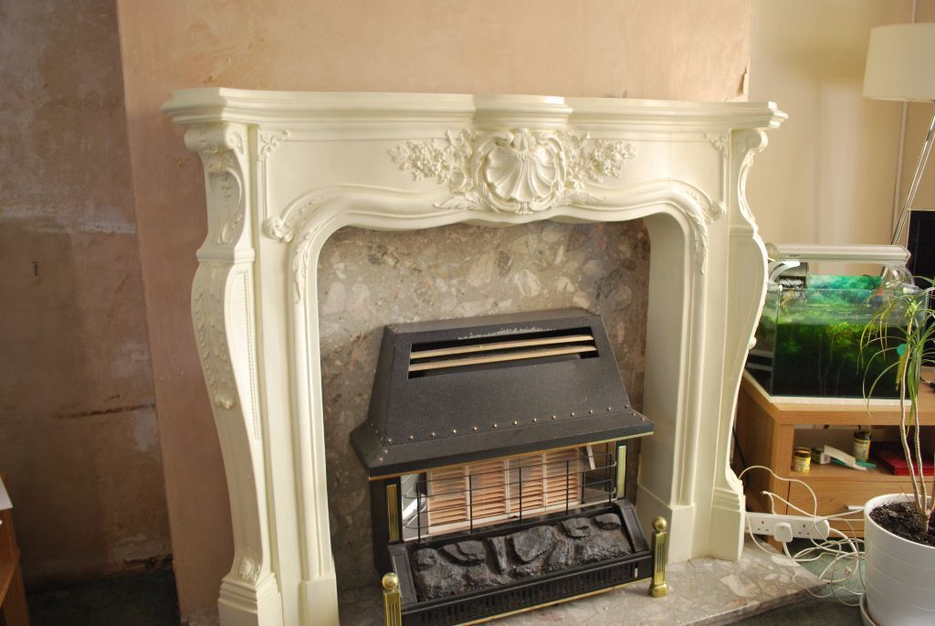 Ornate Fire Surround Stone Effect Resin Fireplace Mantel