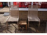 TWO STURDY WOVEN SEAT/BACK CHAIRS WITH STAINLESS STEEL LEGS AND A WOVEN FOOTSTOOL, CAN DELIVER