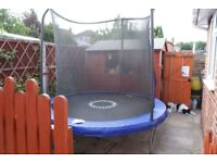 8' trampoline with safety padding and net