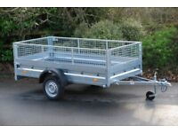 6x4 car trailer single axle 750kg with mesh sides