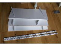 White Ikea Shelves x3 with brackets & metal hanging strips