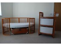 Stokke Sleepi Cot and Junior bed, and Care Changing table in Cherry Finish