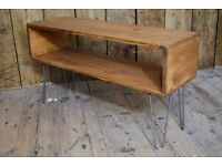 Industrial table TV AV stand decorative display modular vintage salvage hairpin steel wood gplanera