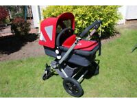 Bugaboo Cameleon, red Pram, Pushchair, Buggy, includes Maxi Cosi CabrioFix car seat with Isofix base