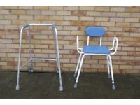 WHEELED WALKING FRAME AND STURDY PERCH CHAIR CLEAN AS NEW, BARGAIN ONLY £30 PAIR CAN DELIVER