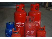 6 Calor gas bottles. Various sizes. (Just 19kg size left)
