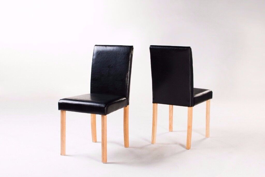 2 X Faux Leather Dining Chair Padded Back & Seat Oak Color Legs