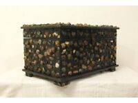 beautiful vintage hand crafted stone embossed storage trunk