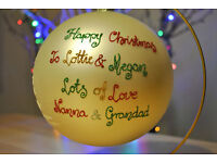 Christmas decorations with hand painted wishes of your choice instead of cards this Christmas!