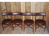 G PLAN round seat chairs x4 in rare mint condition Danish modern teak era vintage retro gplanera