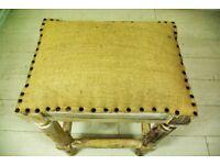 Woven fabric and mango wood barstool