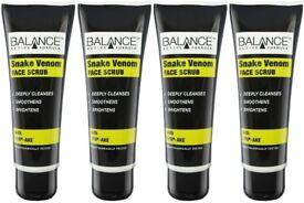 BALANCE tm - Snake venom Facial scrub 75ml x 4 - NO MICRO BEADS - activated charcoal exfolient