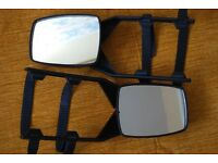 Caravan clip-on towing mirrors