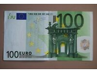 €100 left over Euros holiday money banknote from Cyprus trip for £88.00