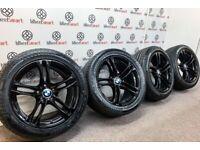 GENUINE BMW 5 SERIES M SPORT ALLOY WHEELS & TYRES - 5 X 120 - GLOSS BLACK