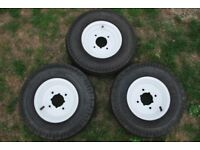 Three 8in trailer wheels/tyres