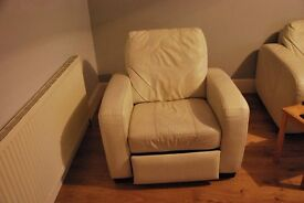 Electric White/cream leather single recliner