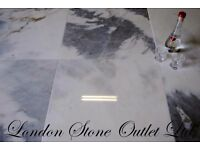 JOB LOT - 19m2 of Bianco Azul Polished Marble 45cm x 45cm x 1cm - £450