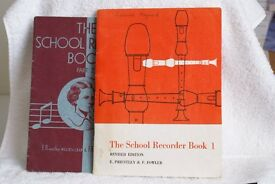 Two Descant Recorders, cleaning rod, two books - The School Recorder Book 1 & 2