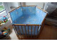 Hexagonal wooden playpen in great condition and high quality