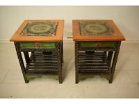 set of 2 beautiful antique hand painted vintage side / bedside tables
