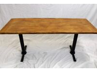 Restaurant/Pub Rustic Reclaimed Wood Dining Table W/ Twin Cast Iron Table Legs