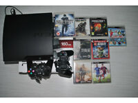 PS3 Console slim 160 GB and 8 Games & 2 Controllers