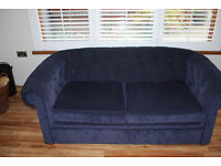 Recently recovered two seater settee and high back armchair